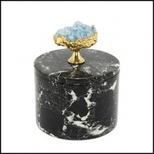 Box in black marble with lid 162-Selenite and Marble Medium