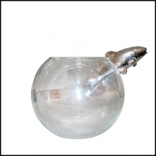 Vase fish hand blown clear glass and fish in porcelain silver finish 104-Silver Fish