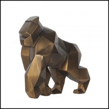 Sculpture in resin in patinated  bronzage finish cubic style 119-Kong Gorilla