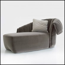 Meridienne with solid wood structure upholstered and covered with grey velvet fabric 150-Great Rest