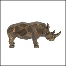 Sculpture en résine finition bronze patiné style cubisme 119-Rhino