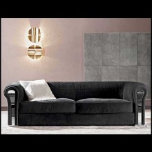 Sofa with solid wood structure and covered with black genuine leather nubuc 150-Bruce