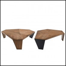 Coffee Table Set of 2 in solid walnut with two legs in solid walnut and one in black matt metal 163-Triple Walnut