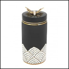 Box in glazed ceramic in black finish with polished brass butterfly on lid's top 162-Butterfly