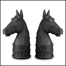 Serres-livres set de 2 en porcelaine finition noire ou blanche 172-Gallop Set of 2