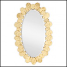 Mirror with frame structure in solid wood in gold leaf paint and mirror glass 119-Gold Drops