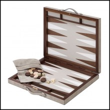 Backgammon with solid mahogany and solid walnut case with leather inlaid playing surface 189-Guapo