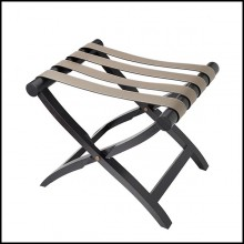 Luggage rack with folding solid oak wood base and with 4 genuine leather stripes 189-Noble