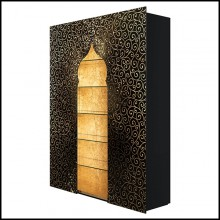 Cabinet or Shelves with black lacquered wood and decorated with gold leaf inserts and with golden powder 191-Riyad