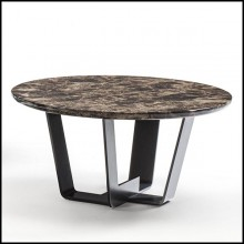 Coffee table with base structure in lacquered iron with emperador dark marble top 154-Jay Marble