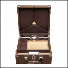 Suitcase covered with brown cowhide leather 186-Luxury Cuban Brown