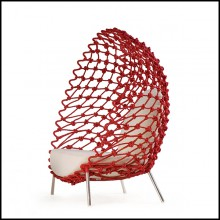 Armchair outdoor-indoor with stainless steel structure covered with twisted and wrapped acrylic fabric 178-Rest Red
