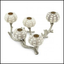 Candleholder with silver plated coral metal structure with 5 candleholders urchin 162-Urchin
