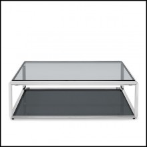 Table basse avec structure finition chrome avec plateaux en verre biseauté fumé 162-Cassiopee Chrome