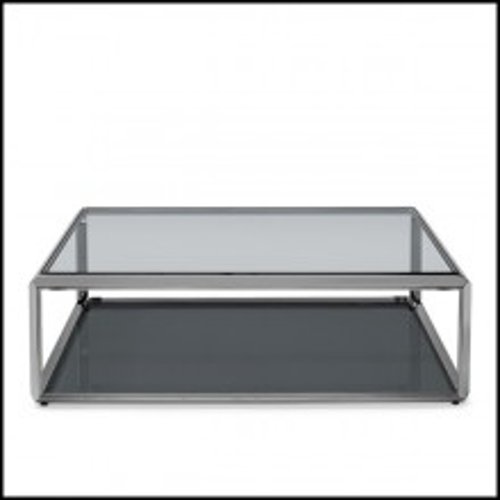Table basse avec structure finition chrome fumé avec plateaux en verre biseauté fumé 162-Cassiopee Smocked