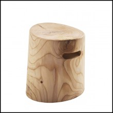 Stool in solid natural aromatic cedar wood 154-Fuga