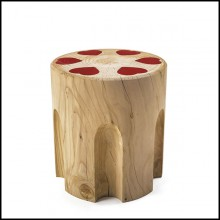 Stool in solid natural aromatic cedar wood with red hearts in red lacquered iron 154-Revolvheart