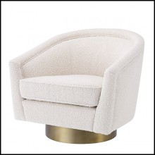 Armchair with velvet fabric in bouclé cream finish and base in matte gold finish 24-Catene Bouclé Cream