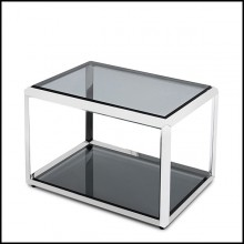 Side table in chrome finish with beveled smocked glass top up and down 162-Casiopee chrome