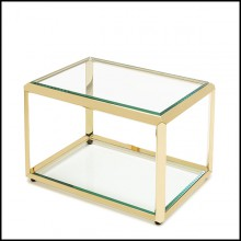 Side table in gold finish with beveled smocked glass top up and down 162-Casiopee Gold
