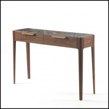 Console table with walnut wood frame with top in Italian brown emperador marble 163-Escape
