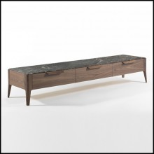 Sideboard TV with solid walnut wood frame with top in Italian brown emperador marble 163-Escape
