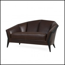 Sofa with structure in solid wood coated with natural genuine leather in brown color 119-Main Office