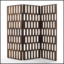 Screen in solid walnut wood with 3 folding panels screens 163-Quadry triple