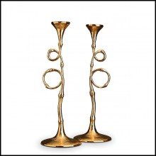 Candleholders in 24 karats plated 172-Bamboo set of 2