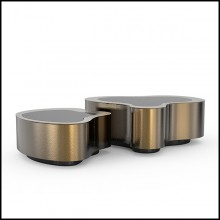 Coffee table covered with handcrafted hammered retro patinated brass 145-Dalia Retro Set of 2
