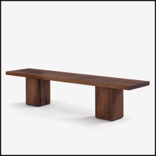 Bench in solid walnut with knots with the 2 bases are passing through the top 154-Full Wood