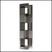 Bookcase with structure in welded smoked glass with 3 cubes in welded blackened glass 146-Parts square