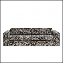 Sofa 3-seater with smooth velvet snow leopard fabric 162-Snow Leopard