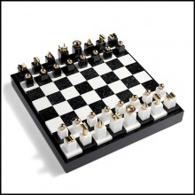 Chess with black and white pieces made in stone with 24-karat gold-plated metal ornaments 172-Stones Game