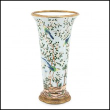 Vase in porcelain and with bronze trim details up and down 162-Birds Porcelain