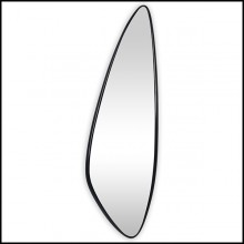 Mirror with solid hand carved mahogany wood frame in black lacquered finish 119-Black Mandel