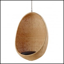 Hanging chair in Manau rattan with chain included 41-Cocoon Hanging