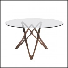 Table with base in solid walnut wood with tempered clear glass top 163-Giulia Round
