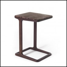 Side table in solid walnut wood with top in brown emperador marble 163-Giulia