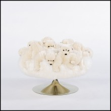 Stool with small polar bears plushes on swivel stainless steel base 188-Polar Bear
