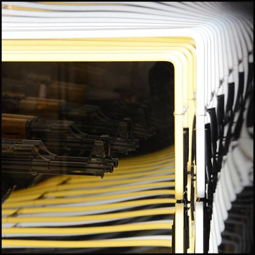 Tabouret réalisé avec de petites peluches d'ours polaires et base rotative en acier inoxydable poli 188-Polar Bear