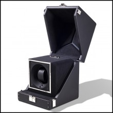 Watch winder box with solid brass in nickel plated padding and lining in black dinamica 186-Single Luxwatch Black