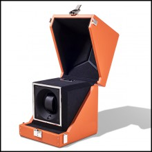 Watch winder box with solid brass in nickel plated padding and lining in black dinamica 186-Single Luxwatch Orange