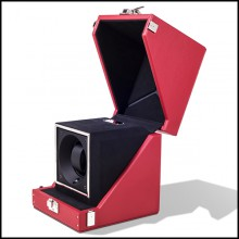 Watch winder box with solid brass in nickel plated padding and lining in black dinamica 186-Single Luxwatch Red