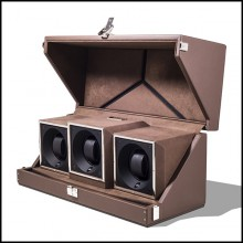 Watch winder box with solid brass in nickel plated padding and lining in brown dinamica 186-Triple Luxwatch Brown