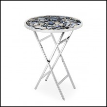 Side table with real agate stone top and polished stainless steel base 162-Agate blue