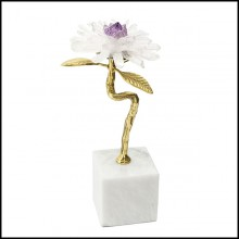 Sculpture with metal gold finish leaves with minerals stones and with amethyst stone 162-Amethyst Flower II