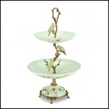 Center table serving piece with 2 plates in enameled porcelain and solid bronze details 162-Birdy