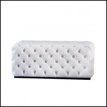 Bench upholstered and capitonated covering with genuine Italian leather in white or red color 163-Captain