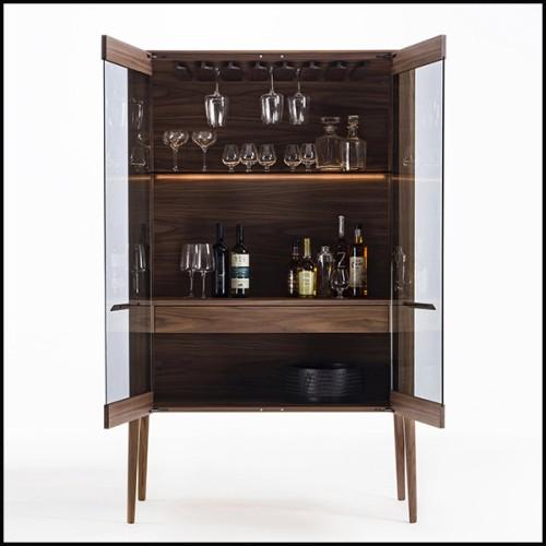 Table avec 2 bases en bois de noyer massif et avec plateau en verre clair trempé 163-Giulia
